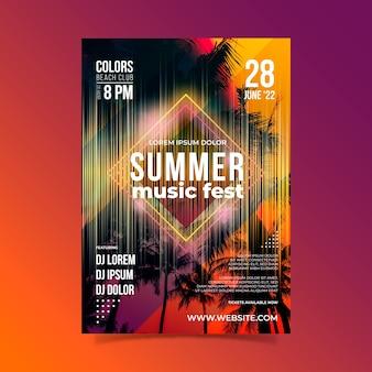 Modelo de cartaz festival de música de verão
