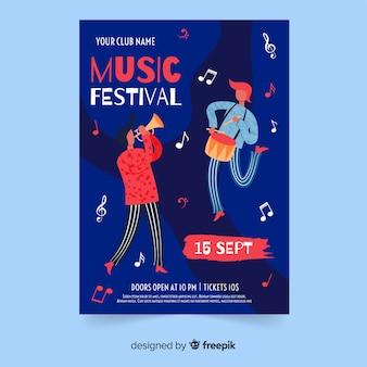 Modelo de cartaz festival de música desenhada de mão