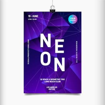 Modelo de cartaz festival de música neon