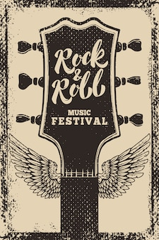 Modelo de cartaz festival de rock and roll. guitarra com asas em fundo grunge. ilustração