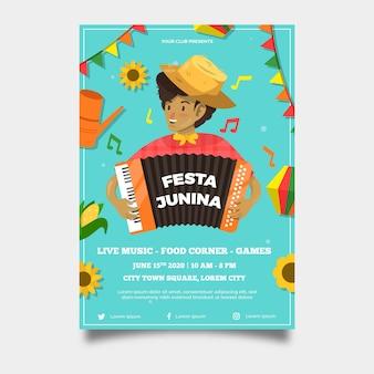 Modelo de cartaz festival estilo plano junho