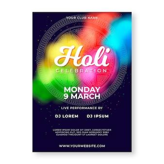 Modelo de cartaz festival holi colorido