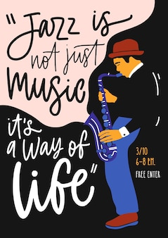 Modelo de cartaz, folheto ou convite para festival de música jazz, evento ou concerto com saxofonista ou homem com sax e letras elegantes