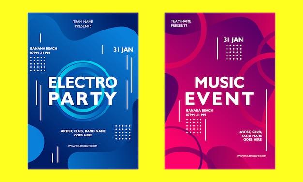 Modelo de cartaz gradiente de evento de música
