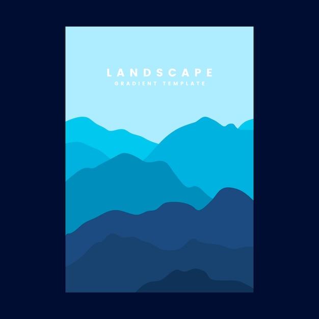 Modelo de cartaz gradiente de paisagem colorida