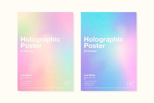 Modelo de cartaz holográfico de cores pastel