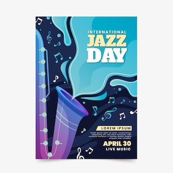 Modelo de cartaz ilustrado dia de jazz