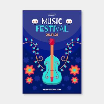 Modelo de cartaz ilustrado festival de música