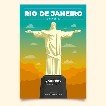 Modelo de cartaz ilustrado para viajar