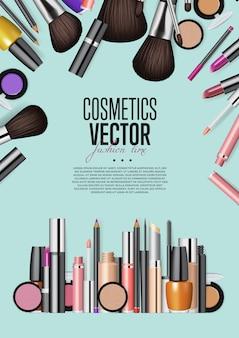 Modelo de cartaz informativo de vetor de realismo de variedade de produtos cosméticos