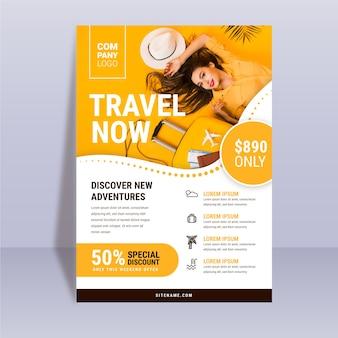 Modelo de cartaz itinerante abstrato com foto