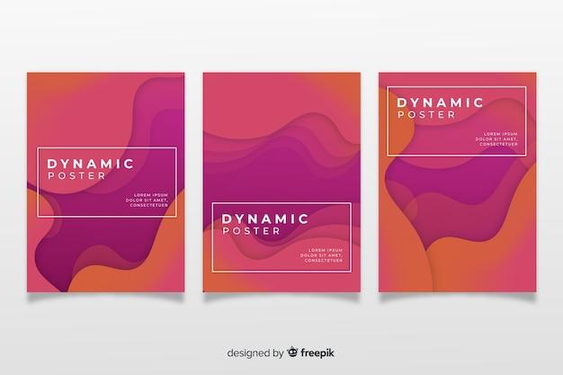Modelo de cartaz moderno com formas dinâmicas