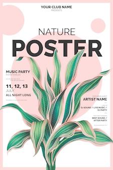 Modelo de cartaz moderno com ilustração botânica