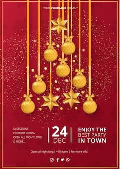 Modelo de cartaz moderno festa de feliz natal