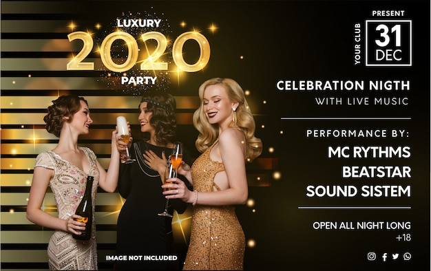 Modelo de cartaz moderno festa de luxo 2020