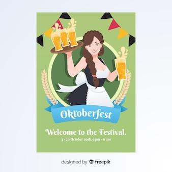 Modelo de cartaz oktoberfest com design plano