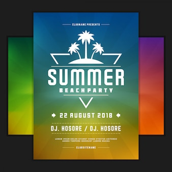 Modelo de cartaz ou folheto de design de festa de verão retrô