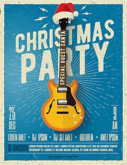 Modelo de cartaz ou folheto de festa de natal com guitarra elétrica com chapéu de papai noel vermelho sobre fundo azul.