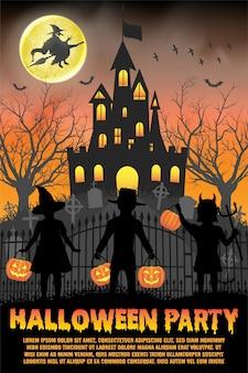 Modelo de cartaz ou panfleto de festa de halloween com castelo assombrado e crianças