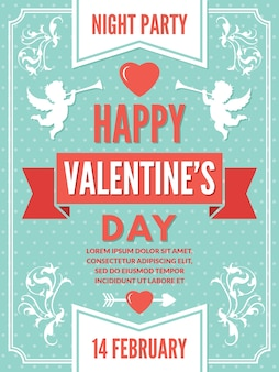 Modelo de cartaz para o dia dos namorados. ilustrações de fundo de símbolos de amor. decoração de cartão romântico de dia dos namorados
