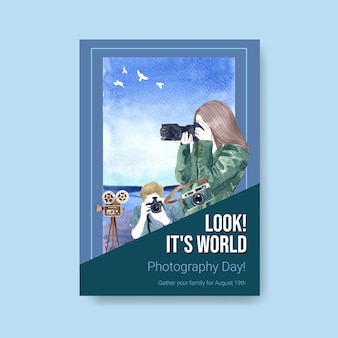 Modelo de cartaz para o dia mundial da fotografia