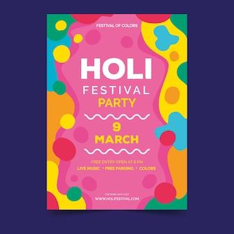 Modelo de cartaz para o festival de holi