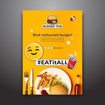 Modelo de cartaz para restaurante de hambúrguer