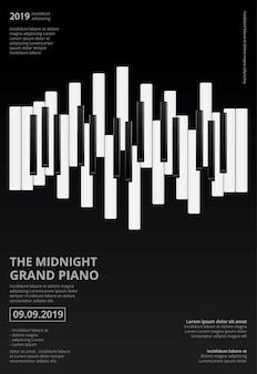 Modelo de cartaz - piano de cauda da música