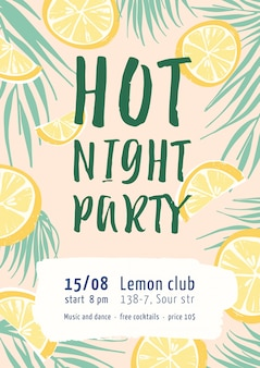 Modelo de cartaz plano de festa à noite quente. convite para evento de entretenimento.