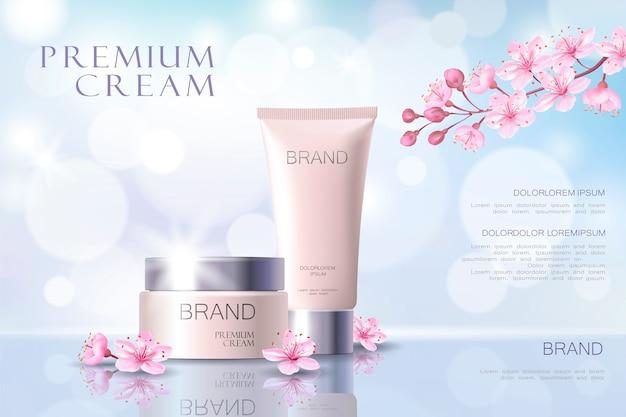 Modelo de cartaz promocional cosmético sakura flor. rosa