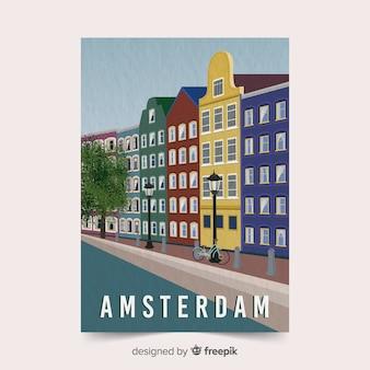 Modelo de cartaz promocional de amsterdã