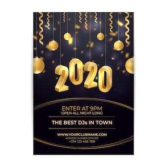 Modelo de cartaz realista ano novo 2020