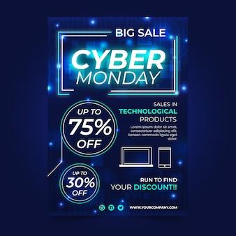 Modelo de cartaz realista cyber segunda-feira