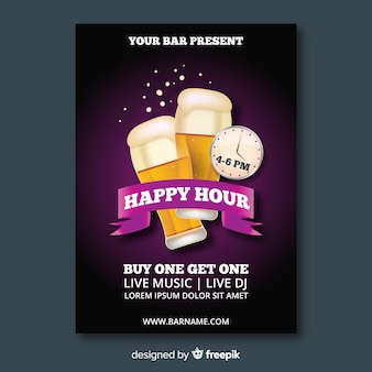 Modelo de cartaz realista happy-hour