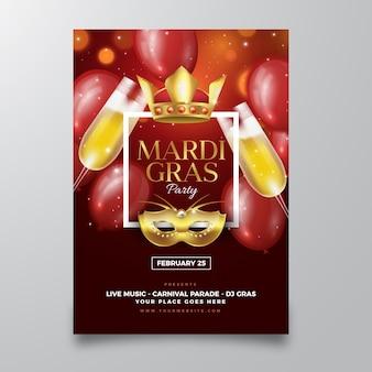 Modelo de cartaz realista mardi gras