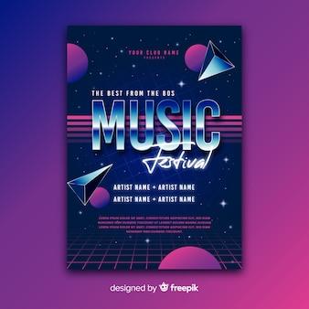 Modelo de cartaz retrô música futurista