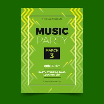 Modelo de cartaz verde de festa de música
