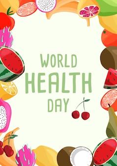 Modelo de cartaz vertical do dia mundial da saúde com coleção de frutas orgânicas frescas.