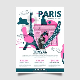 Modelo de cartaz - viajando para a frança artigos de papelaria