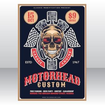 Modelo de cartaz vintage de garagem personalizada de cabeça de motor