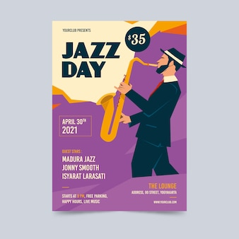Modelo de cartaz vintage dia internacional do jazz