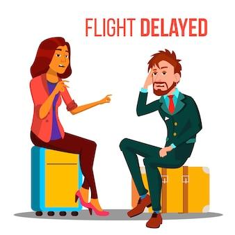 Modelo de cartaz - vôo atrasado, cancelado dos desenhos animados
