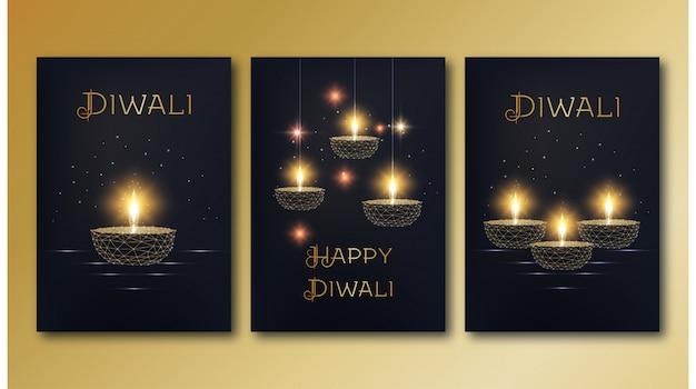 Modelo de cartazes feliz diwali conjunto com diya de lâmpada de óleo baixo poli dourado brilhante sobre fundo preto.