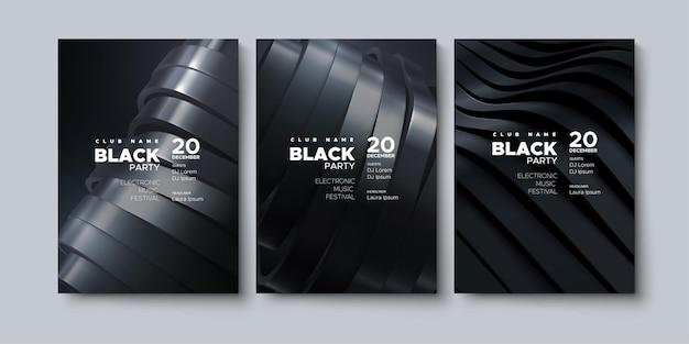 Modelo de cartazes publicitários de festa negra