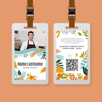 Modelo de carteira de identidade de café