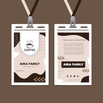 Modelo de carteira de identidade de cafeteria