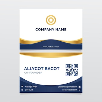 Modelo de carteira de identidade empresarial azul e dourado