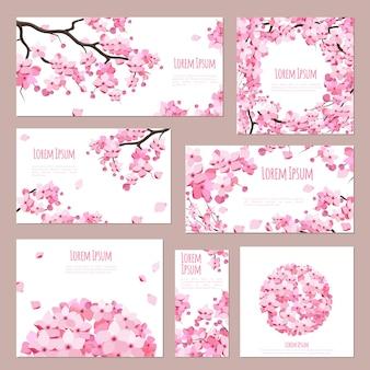 Modelo de cartões comemorativos com flores desabrochando de sakura