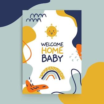 Modelo de cartões de bebê infantis com pintura abstrata