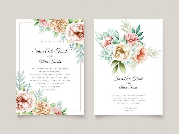 Modelo de cartões de casamento aquarela peônia linda flor desabrochando